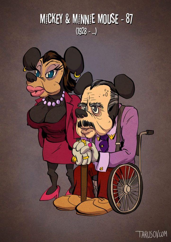 Andrew Tarusov-Megöregedett rajzfilmfigurák-Minnie és Mickey Egér