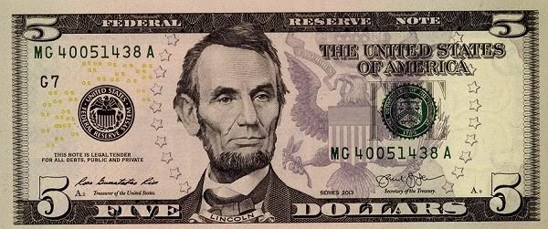 Martin Luther King polgárjogi aktivista arcképe is látható lesz az új amerikai ötdolláros bankjegyeken Abraham Lincoln elnök arcmása mellett.