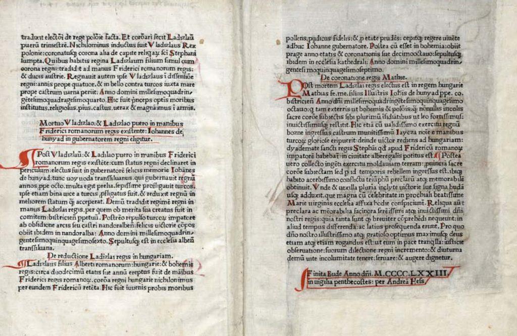 Chronica Hungarorum kolofon - A legrégebbi Magyarországon nyomtatott könyv