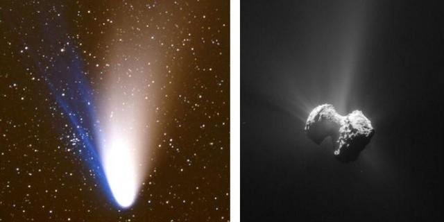 1. ábra. Példák az üstökösök aktivitásának következményeire: a látványos és aktív Hale–Bopp-üstökös széles porcsóvája és egyenes gázcsóvái 1997. április 6-án Marc Chapelet francia amatőr csillagász 300 mm-es teleobjektívvel készített felvételén (bal oldalon).  A 67P/C–G-üstökös magjáról a Rosetta szonda navigációs kamerája (NavCam) által 2015. július 20-án a magtól 171 km-re készített felvételén jól látszanak a por-jetek (jobb oldalon)ESA/Rosetta/MPS, OSIRIS Team MPS/UPD/LAM/IAA/SSO/INTA/UPM/DASP/IDA Annak megismerésére, hogy valójában hogyan válik aktívvá egy üstökös, honnan és hogyan távozik belőle a gáz és a por, vagyis pontosan milyen az üstökösaktivitás mechanizmusa, az egyik legjobb módszer az, ha űrszondát küldünk egy aktív üstökösmag közvetlen közelébe. A szonda az üstököst már a Naptól nagy távolságra tanulmányozni kezdi, az aktivitás elindulásától a végéig, miközben az üstökös áthalad a pályája Naphoz legközelebb eső pontján, amelynek környékén a legnagyobb az aktivitásának – gáz- és porkibocsátásának – a mértéke.