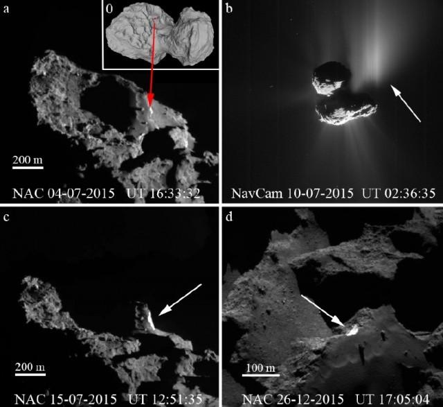 2. ábra. A Rosetta szonda navigációs (NavCam) és tudományos képfelvevő kamerái (OSIRIS) által a 67P/C–G-üstökös magjáról és annak Aswan területéről 2015 júliusa és decembere között készített felvételek.  A bal felső képen az Aswan terület szirtfalának helyét nyíl mutatja.  A jobb felső képen jól látszanak a fényes porsugarak (por-jetek).  A bal alsó képen, a nyílnál az üstökösmag belsejének fényesebb anyaga látszik az Aswan szirtfalának leomlása után.  A jobb alsó képen a leomlott szirtfal és az omlási törmelék fényes takarója látható az üstökösmag sötétebb környezetébenESA/Rosetta/MPS, OSIRIS Team MPS/UPD/LAM/IAA/SSO/INTA/UPM/DASP/IDA