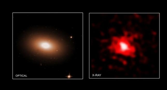"""Az MRK 1216 """"vörös rög"""" galaxis képe az optikai (Hubble-űrtávcső) és a röntgen (Chandra-röntgentávcső) tartományban - Forrás: röntgen: NASA/CXC/MTA-Eötvös University/N. Werner et al.; optikai: NASA/STScI"""