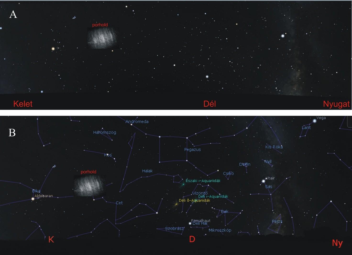 (A) Így nézett volna ki a csillagos ég a Föld-Hold rendszer L5 Lagrange-pontja környékén, ha a 2017. augusztus 19-én éjjel 1 óra 14 perckor megfigyelt és számítógéppel modellezett Kordylewski-porhold szabad szemmel is észlelhető lett volna. (B) Mint az A ábra, de most az ismertebb csillagképek és azok magyar neveinek feltüntetésével.