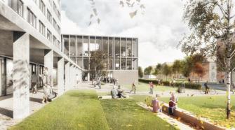 """A könyvtár önálló bejárattal rendelkezik, de a kollégium földszintjének részleges """"kipucolásával"""" létrehozott, változatos használatra alkalmas előcsarnok (közösségi tér) felől is megközelíthető."""