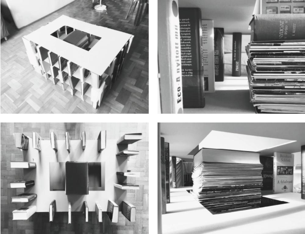 """A pályamű a hallgatói központ épület külső-belső struktúráját egyszerű (""""álló könyv – fekvő lemez"""") képletből vezeti le, amit azonban a végső megoldáson nem visz végig következetesen"""