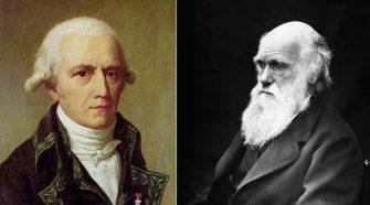 Darwin és Lamarck portréja.