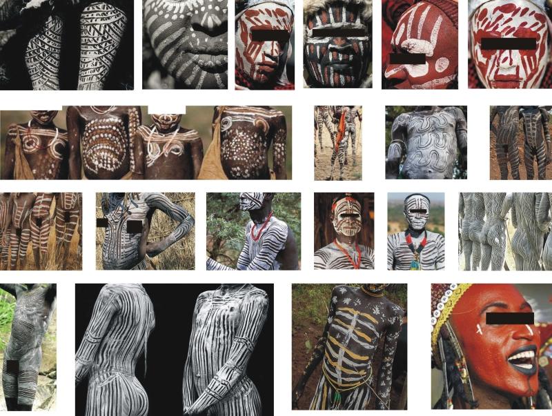 Afrikai bennszülött törzsek jellemző testfestési mintázatai.