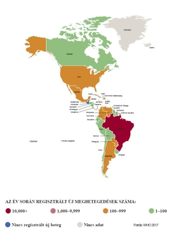 Lepra elterjedtsége Amerikában.