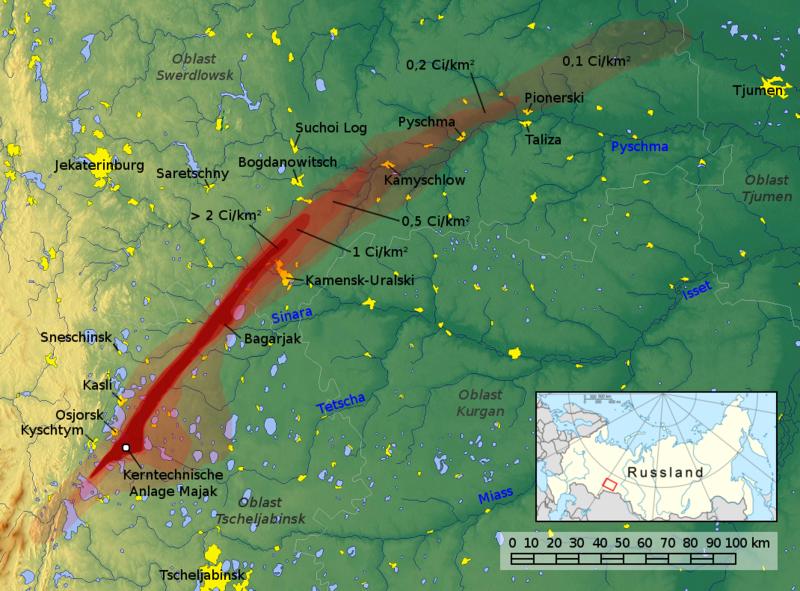 Majak atomreaktor katasztrófa kiterjedése.
