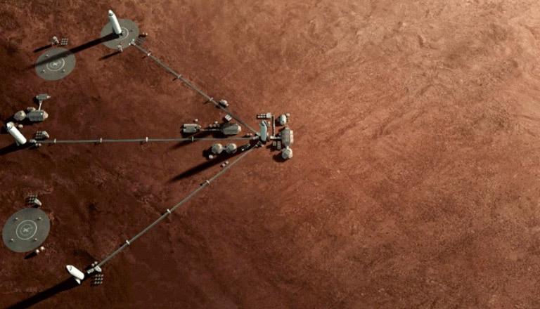 A Mars-kolónia tervének illusztrációja Forrás: spacex.com