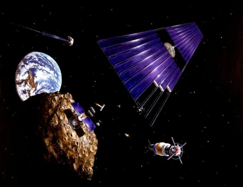 Űrbányászat konceptuális grafikán Forrás: nasa.gov