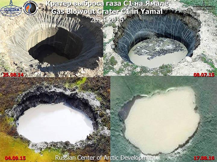 Metánrobbanás okozta kráterek Forrás: siberientimes.com