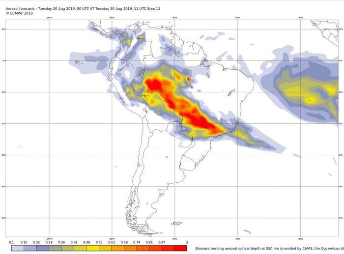 Amazóniai tűz súlypontja és füstje Forrás: European Centre for Medium-Range Weather Forecasts