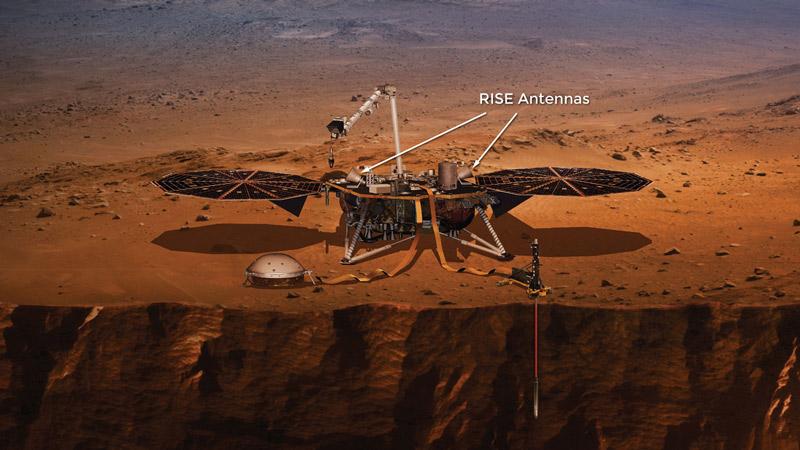 A teljes InSight űrszonda, mindhárom műszerével, valamint napelemeivel. Forrás: mars.nasa.gov