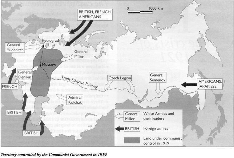 A vörösök és az intervenciósok 1919-ben. Forrás: The Year That Was