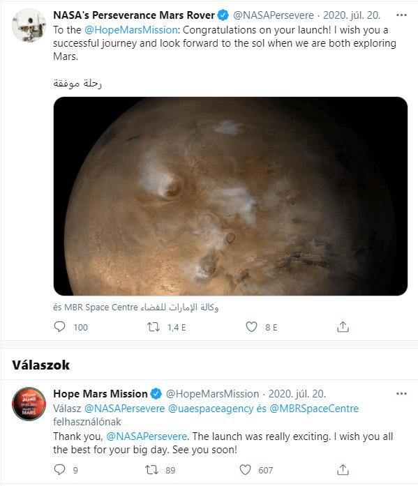 A NASA twitter-üzenetben gratulált. Forrás: Twitter