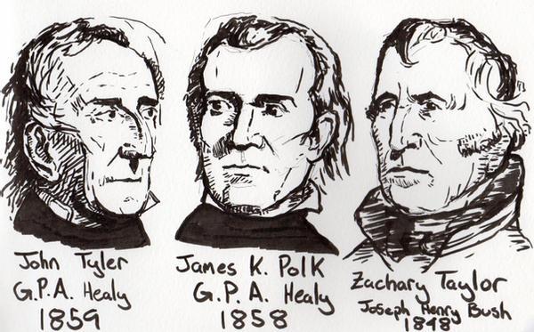 Tyler, Polk és Taylor 10., 11. és 12. elnökei az Egyesült Államoknak. Forrás: Smithsonian