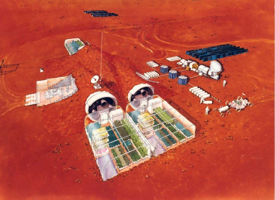 A marsi farmgazdálkodás elképzelése. Forrás: NASA