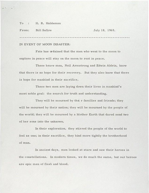 Nixon alternatív beszéde. Ez hangzott volna el az adásban, ha a holdraszállás kudarcba fullad. Forrás: dailymail.co.uk