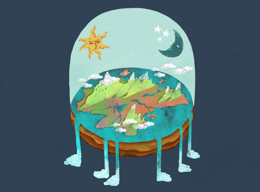 A lapos Föld, ahogyan mindenkinek eszébe jut. Forrás: NPR