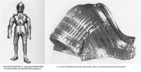 A korabeli beszámolók szerint a 9 éves Lajos szintén egy I. Miksától kapott aranyozott páncélt viselt, amikor 1515. július 29-én egy Bécsben rendezett ünnepségen vele együtt Bécsújhelyre lovagolt.