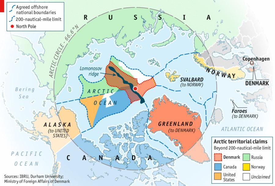 Az Északi-sark a területi követelések felosztásában