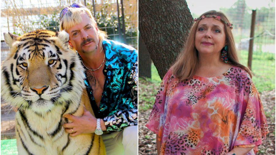 Joe Exotic nagymacska állatkert tulajdonos és Carole Baskin, a Big Cat Rescue non-profit szervezet élharcosa. A kettejük között feszülő ellentét és hipokrita hozzáállás hasonló témánkhoz a 2020-as Tiger King c. Netflix dokusorozatban. Forrás: Variety
