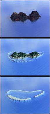 Atoll keletkezésének stációi egy maldív szigeten. Forrás: NASA