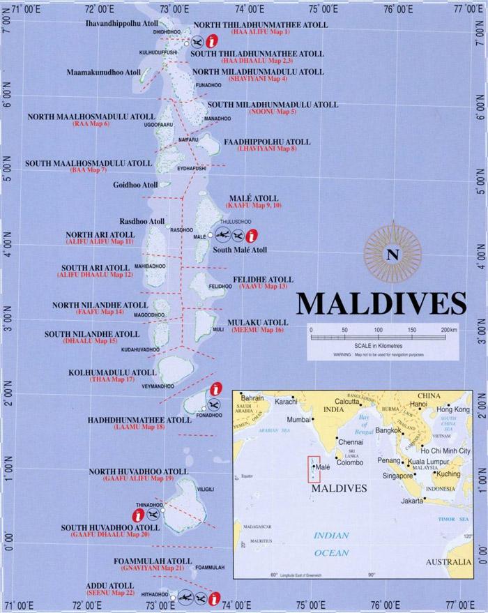 Maldív-szigetek a térképen. Forrás: maldiversmap.blogspot.com