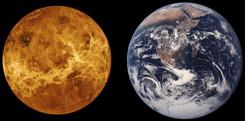 Vénusz és Föld. Forrás: universetoday.com