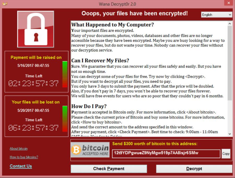 A WannaCry ransomware, az eddigi legveszélyesebb. Forrás: yszerviz.hu